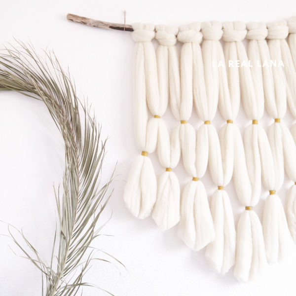 wallhanging, chunky wool tapestry, macrame
